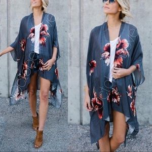 Ivory Floral Kimono. Lightweight and trendy.